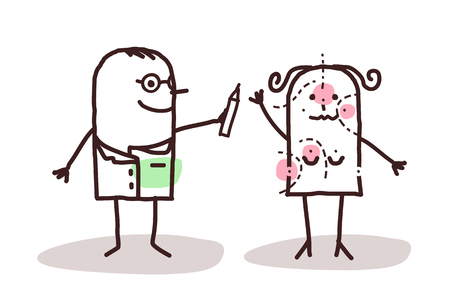 chirurgo: chirurgo plastico cartone animato con il paziente Archivio Fotografico