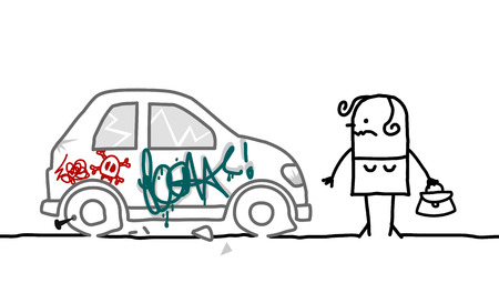 wrecked: cartoon woman and vandalized car