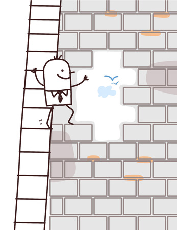 scale up: cartoon man climbing up a wall opening Stock Photo