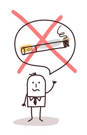 intoxication: cartoon man who wants to stop smoking Stock Photo