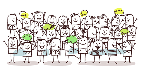 hand drawn cartoon: crowd and happiness