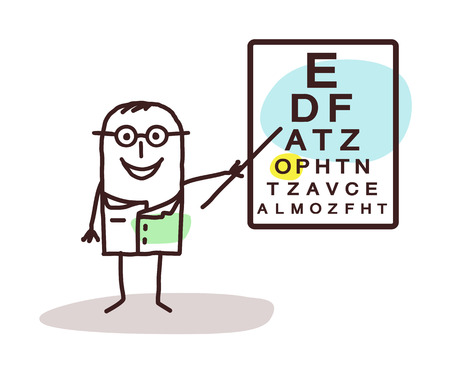 ophthalmologist: cartoon ophthalmologist with signs on board