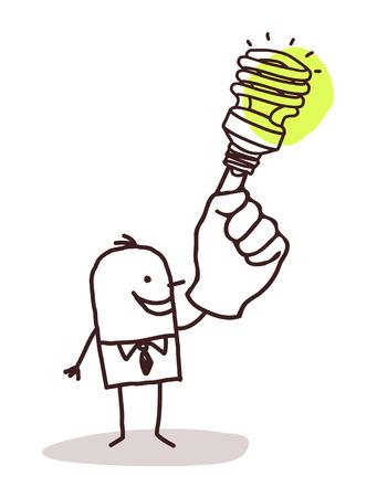 green light bulb: man with green light bulb on finger