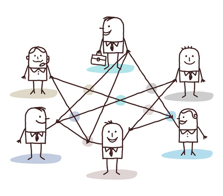 group of business people connected by lines Stock Photo