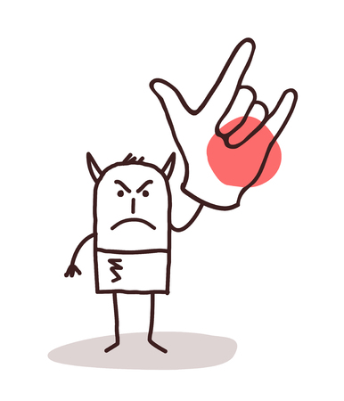 devil cartoon: cartoon devil man with big hand sign