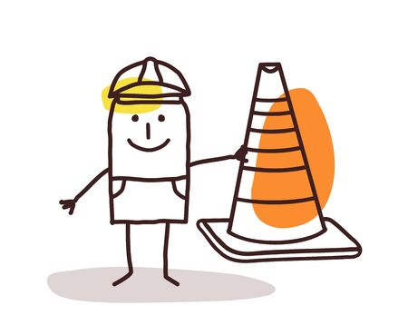 Construction Worker Man With a Cone Sign Stock Photo