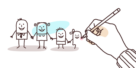 unfinished: designer hand drawing a cartoon family