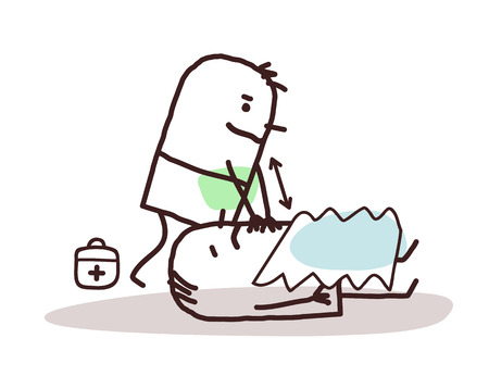 relates: cartoon doctor giving first aid to a wounded man