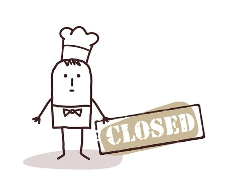 closed sign: cartoon chef cook and closed sign