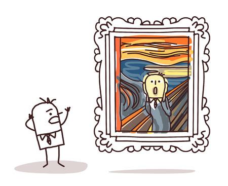 el hombre mirando la imitación del grito Foto de archivo