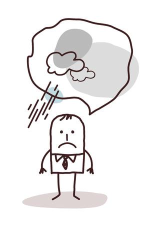 dreary: very pessimistic cartoon man Stock Photo
