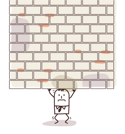 squashed: cartoon man crushed under a heavy wall Stock Photo