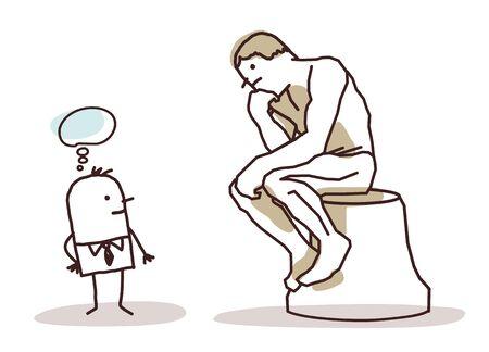 Homme en regardant le penseur de Rodin Banque d'images - 52572000