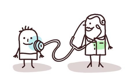 pediatrician: pediatra de dibujos animados con ni�o