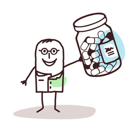 cartoon doctor with bottle of medicine capsules Banco de Imagens