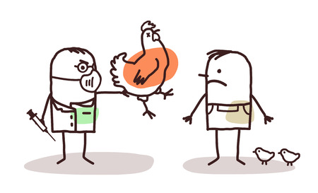 bird flu: cartoon doctor and farmer with sick chicken Stock Photo