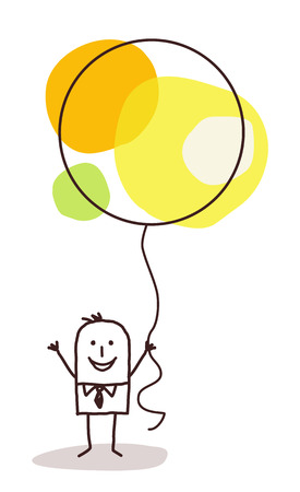 white party: cartoon man holding up a big celebration balloon