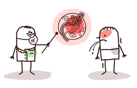 cough: dibujos animados médico y paciente con el virus del Ébola