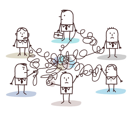 group of business people connected by messy lines Banque d'images