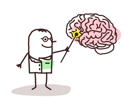 neurologist: cartoon neurologist with brain