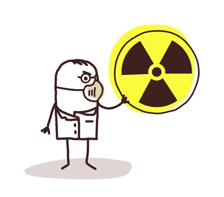radioactivity: scientist with mask and radioactivity