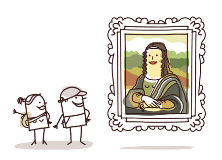 funny people: couple of tourists watching the Mona Lisa