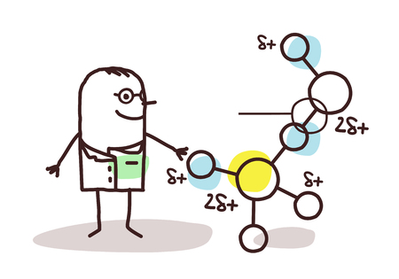 cartoon scientist with molecule Stock Photo
