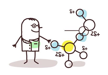 relates: cartoon scientist with molecule Stock Photo