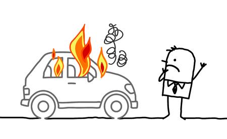 burning man: Hand drawn cartoon characters - man watching a burning car