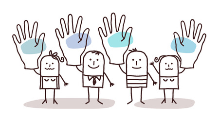cartoon group of people saying YES with raised hands