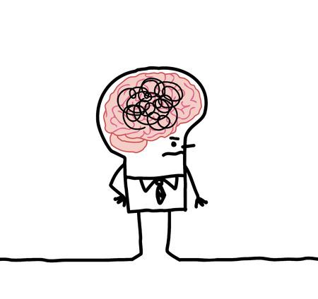 gray matter: cartoon man with big brain