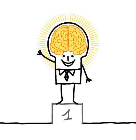 brain illustration: cartoon leader with big golden brain Stock Photo