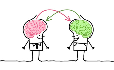 大きな脳を持つ漫画男性