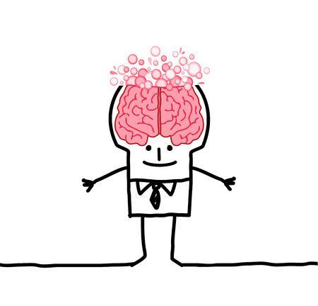 cartoon man with big brain