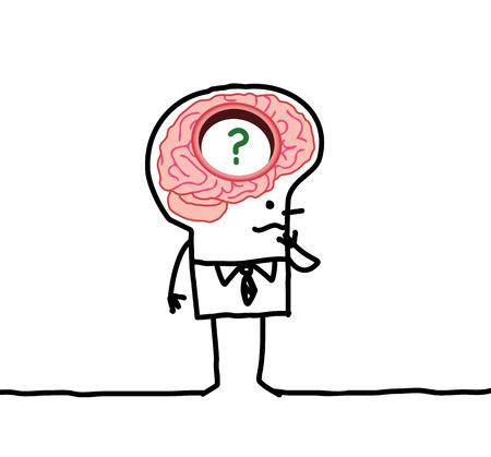 큰 뇌와 만화 남자 스톡 콘텐츠