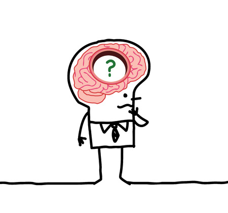 cartoon man met grote hersenen Stockfoto