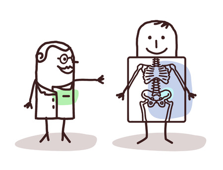 medicine and science: cartoon radiologist with patient