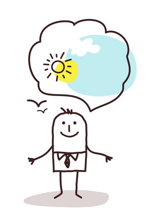 good weather: very optimistic cartoon man Stock Photo
