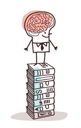 erudite: man with big brain on stack of books