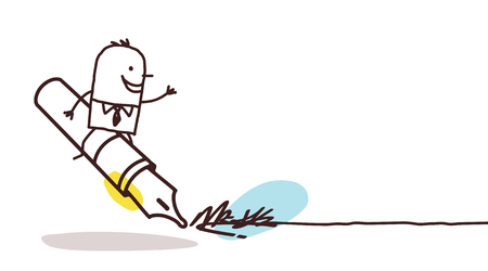 signing: cartoon businessman on signing big pen