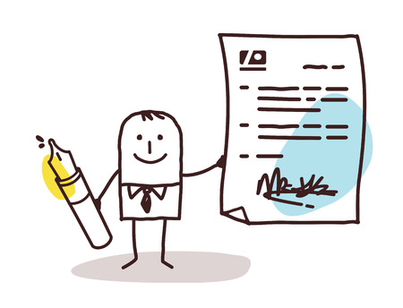 cartoon businessman and signed contract Banque d'images
