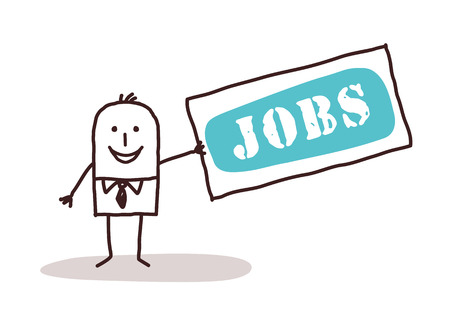 jobs: cartoon businessman and sign jobs Stock Photo