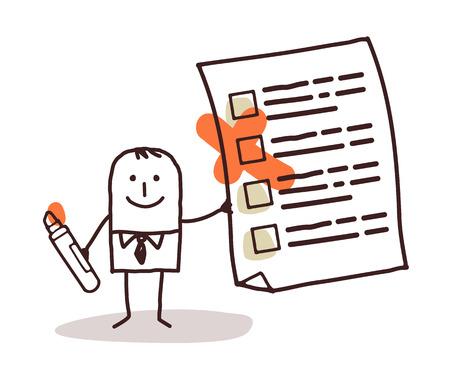 cartoon businessman and checking list