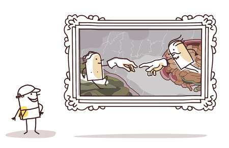 michelangelo: cartoon man watching a Michelangelo imitation Stock Photo