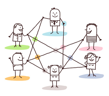 group of people connected by lines Banque d'images