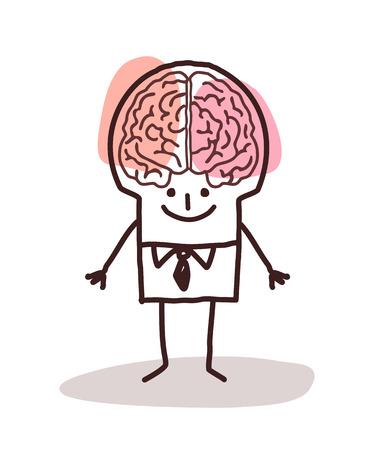 cartoon brain: businessman with big brain