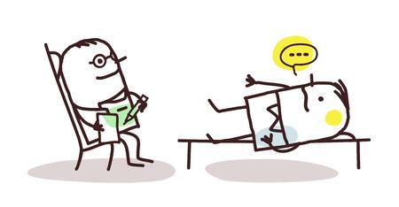 psychoanalysis: cartoon psychoanalyst with patient