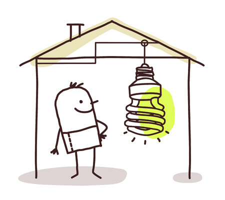 ionizing: man in house and green light Stock Photo
