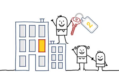 housing crisis: cartoon family and new flat
