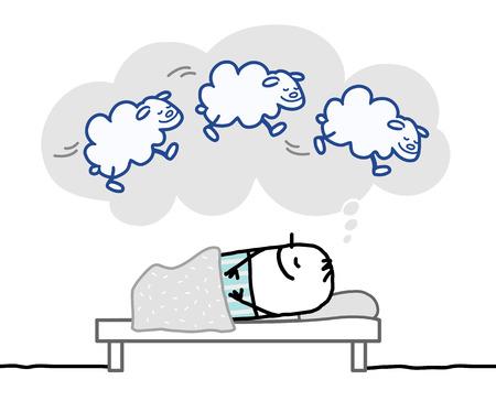 man lying down: Cartoon Man having a nice dream Stock Photo